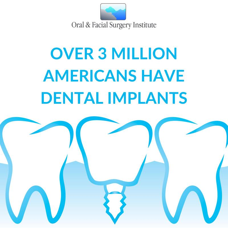 Image that says 3 million Americans have dental implants.