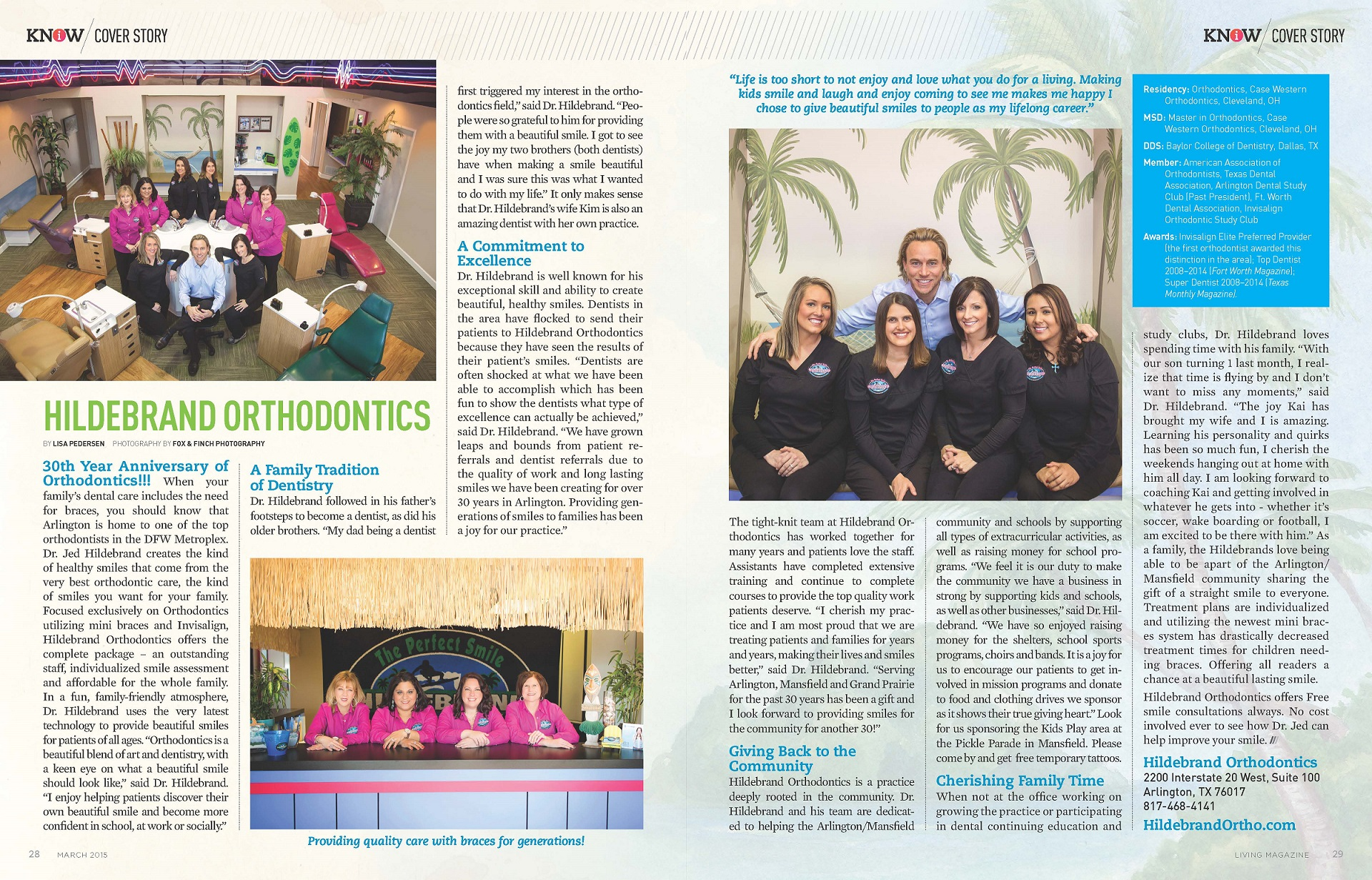 hildebrand orthodontics in living magazine
